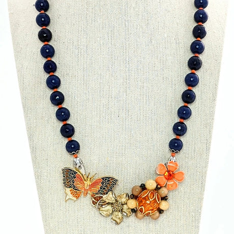 navy and orange butterfly necklace
