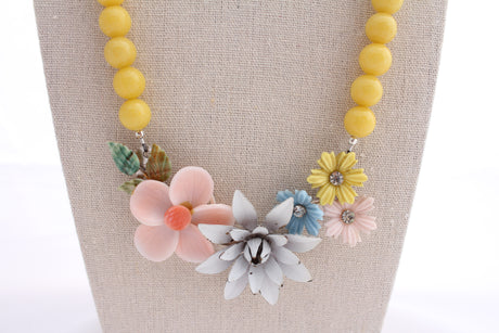 Pastel floral collage necklace