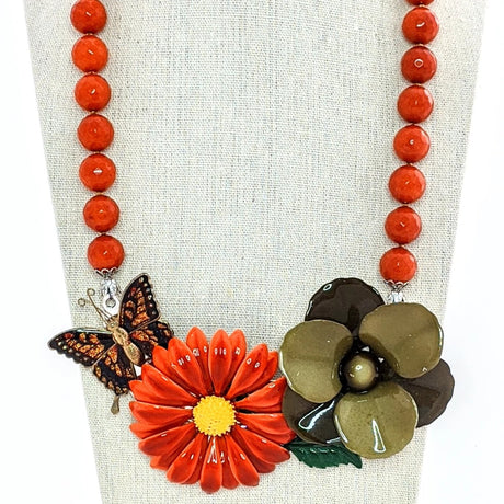 orange and green butterfly necklace