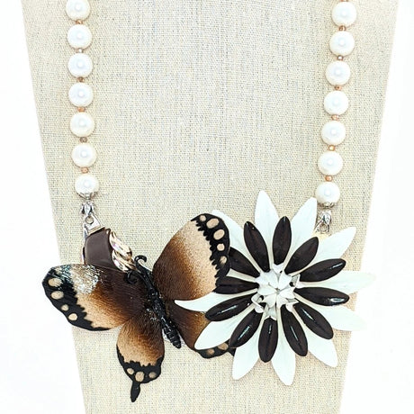 brown butterfly statement necklace