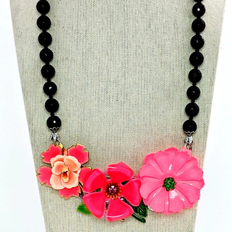 hot pink floral statement necklace