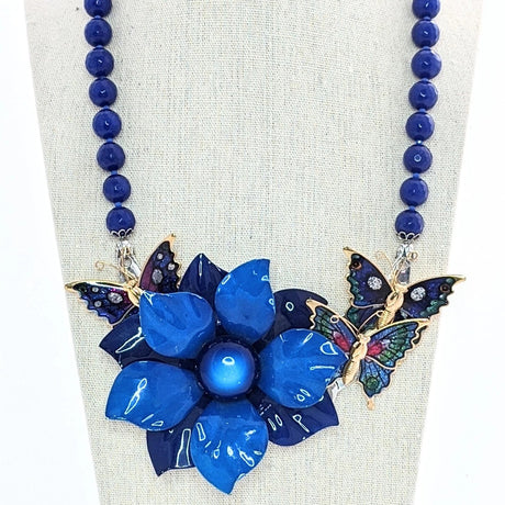 cobalt blue butterfly statement necklace