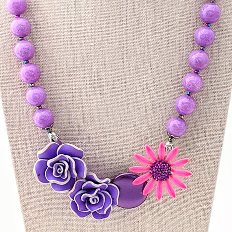 pink and purple vintage flower necklace