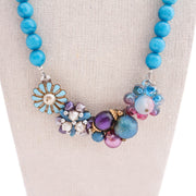 teal necklace, colorful statement necklace