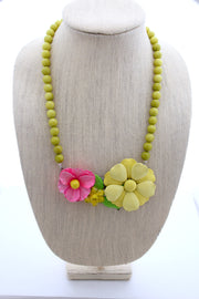vintage flower necklace, flower statement necklace