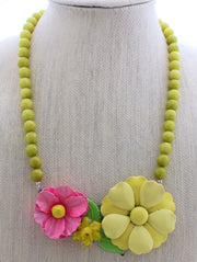 Olive and Rose Flower Necklace