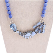chunky statement necklace, blue beaded necklace