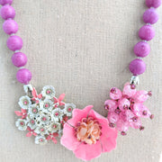 Pink & Lavender Colorblock Collage Necklace (Collage 58)