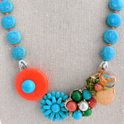 Turquoise & Orange Collage Necklace (Collage 62)