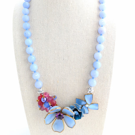 Periwinkle Flower Collage Necklace (Collage 65)
