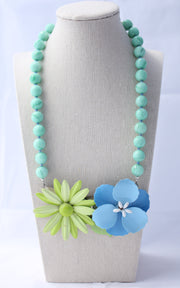 Periwinkle Lime Flower Statement Necklace - bel monili, Pittsburgh PA, country living fair, vintage market days