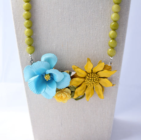 Upcycled Vintage Flower Collage Necklace - bel monili, Pittsburgh PA, country living fair, vintage market days