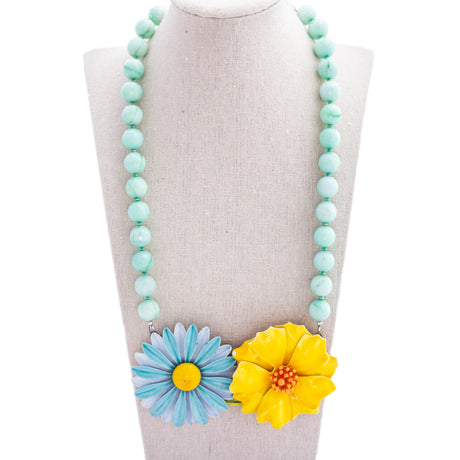 Aqua and Yellow Collage Necklace