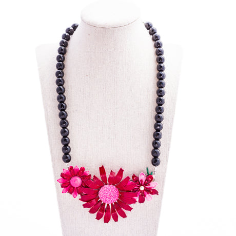 Black Cranberry Collage Necklace