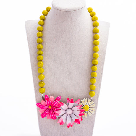 Pink and Yellow Bold Collage Necklace