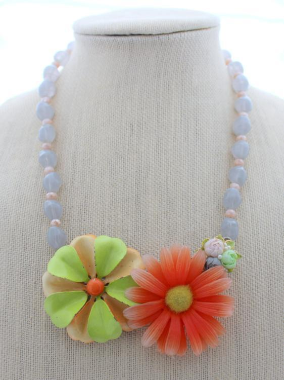 Tangerine and gray flower necklace