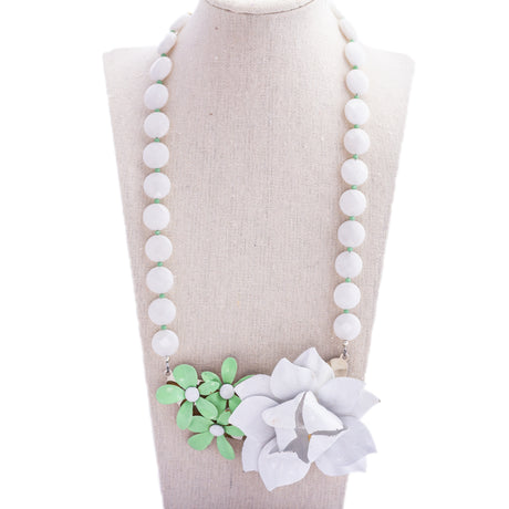 Mint & White Collage Necklace