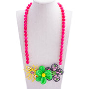 Bright Pink & Green Flower Collage Necklace
