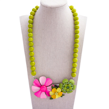 Olive and Pink Flower Collage Necklace