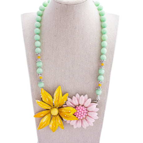 Mint & Pink Flower Collage Necklace