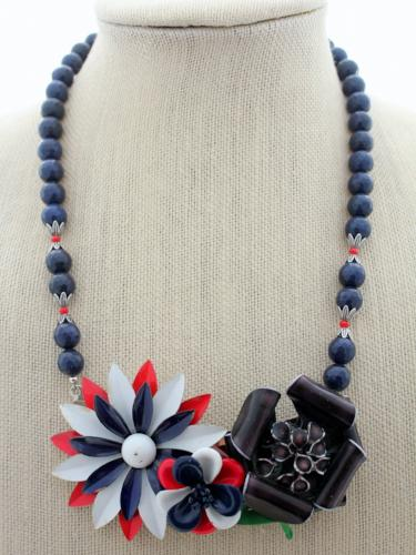 red, white, and blue flower necklace