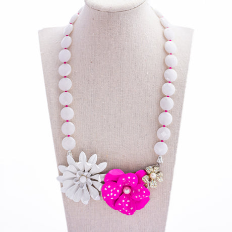 White Jade & Hot Pink Collage Necklace