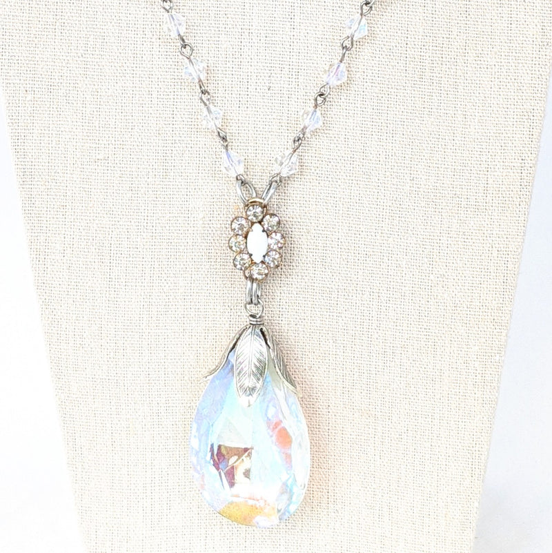 Crystal Drop Long Beaded Bauble Necklace