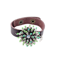 Spikey Green Vintage Bauble Cuff