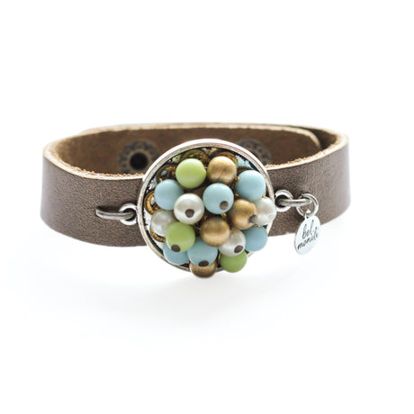 blue and green leather cuff bracelet