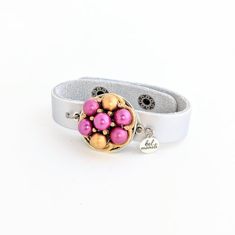 fuchsia and gold bauble bracelet