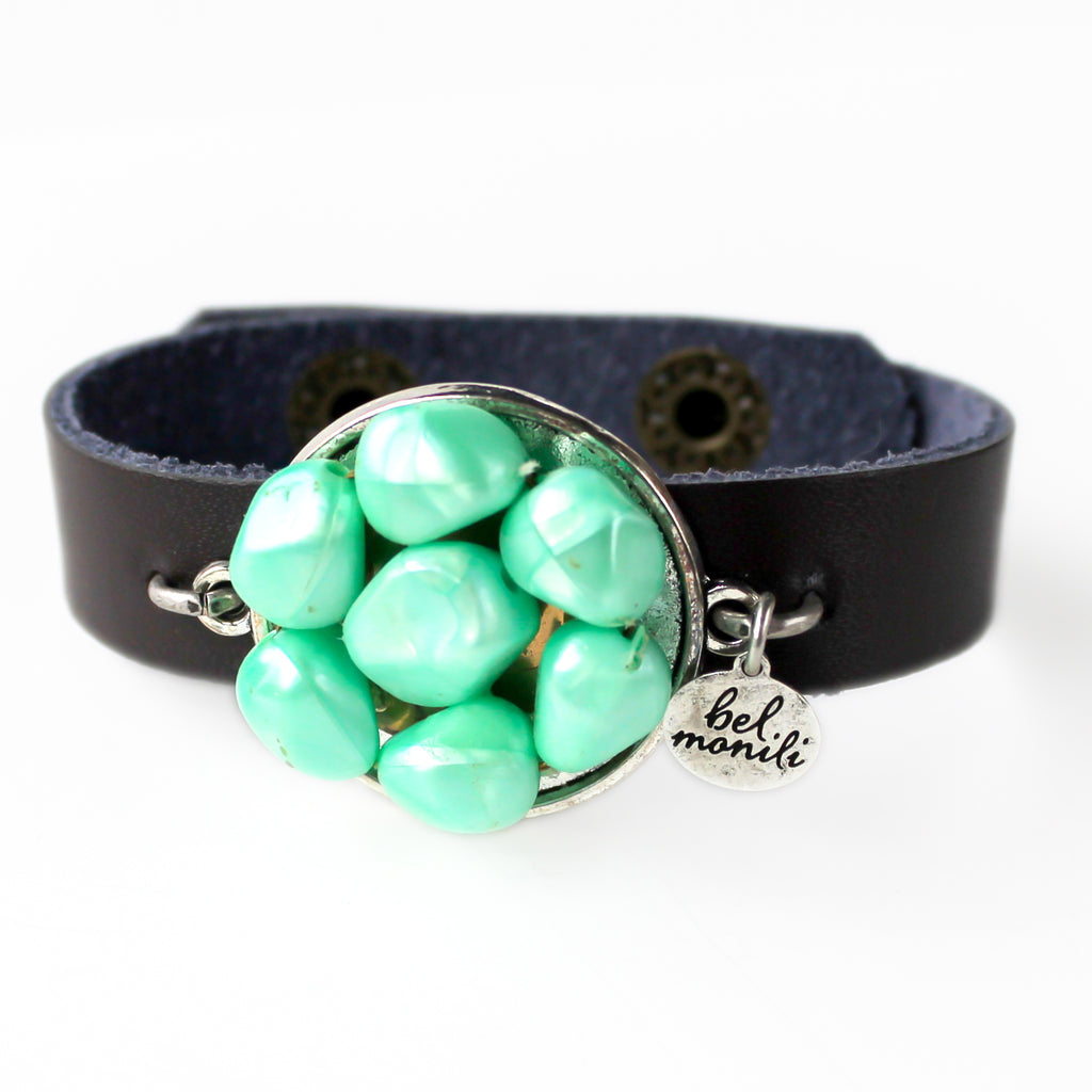 Mint Green Vintage Bauble Leather Cuff Bracelet