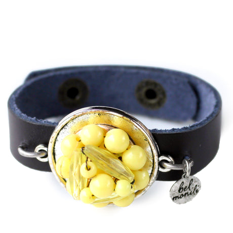 Vintage Yellow Bauble Cuff Bracelet