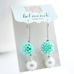 Flower Earrings, Aqua Earrings