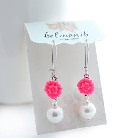 hot pink drop earrings