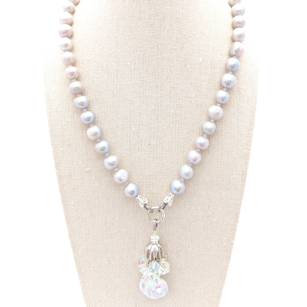 Freshwater Pearl & Vintage Crystal Necklace