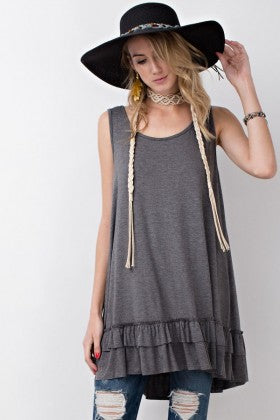 Gray sleeveless ruffle tunic