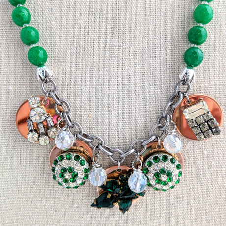 Green Rhinestone Coin Necklace