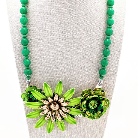 March Greens Vintage Flower Collage Necklace