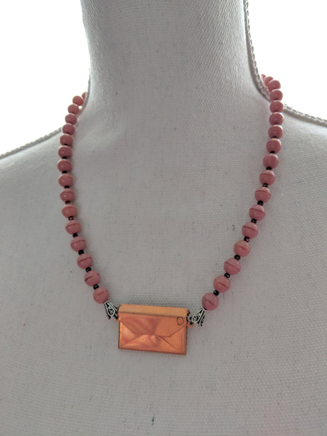 Copper envelope necklace with pink beads - bel monili, Pittsburgh PA, country living fair, vintage market days