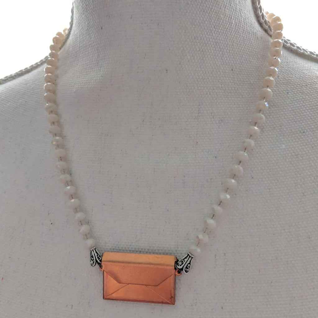 Copper envelope necklace - bel monili, Pittsburgh PA, country living fair, vintage market days
