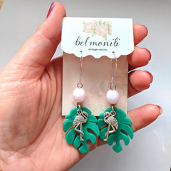 Miami Vibe flamingo earrings