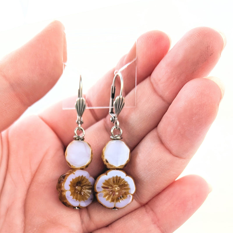 Czech Glass Hibiscus Flower Earrings (multiple colors available)