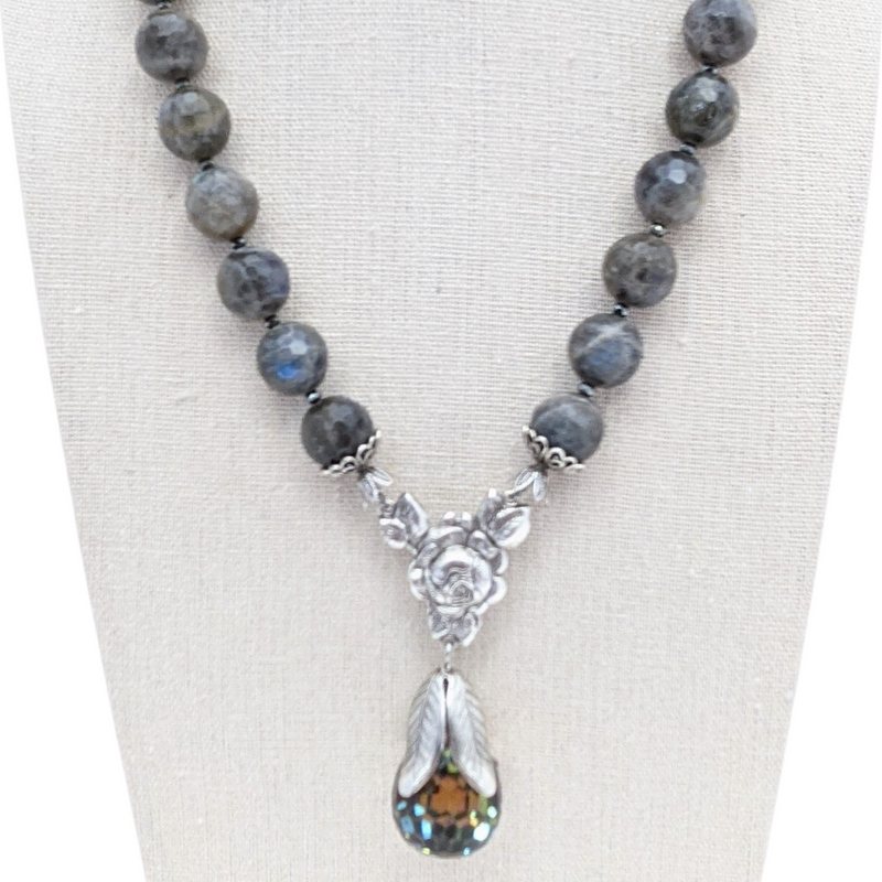 Labradorite Crystal Pendant Necklace