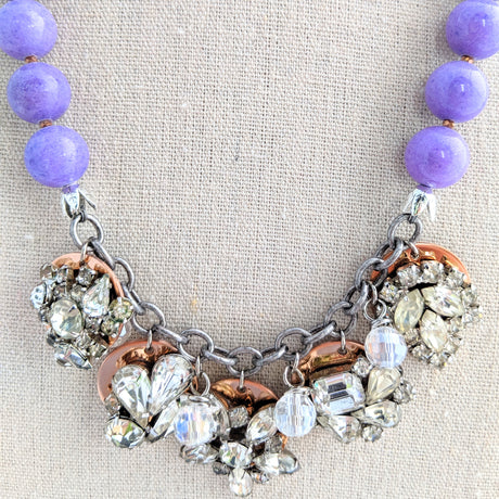 Lavender Rhinestone Coin Necklace