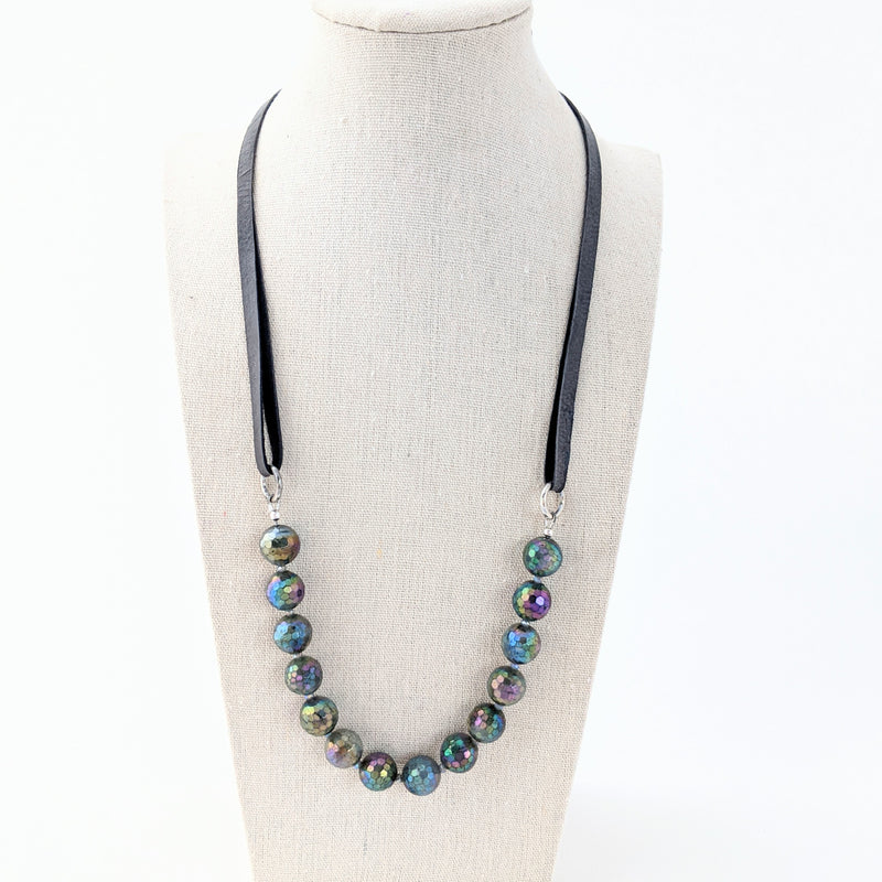 Leather & Labradorite Necklace