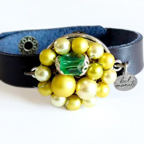 Yellow Green Vintage Bauble Leather Cuff Bracelet