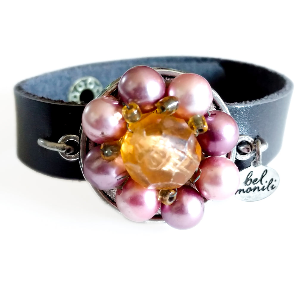 Lavender Vintage Bauble Leather Cuff Bracelet