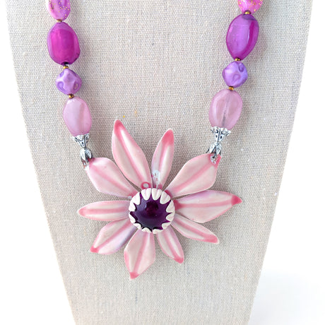 Mauve Purple Flower Necklace