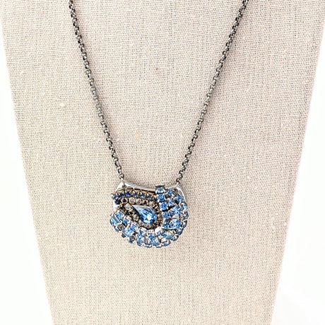 bel monili blue rhinestone mini collage necklace