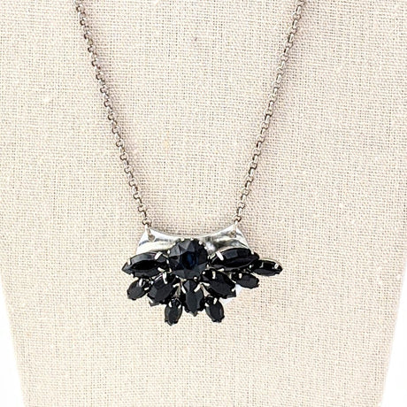 vintage black rhinestone necklace